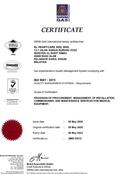 CERTIFICATE ISO 9001 (QMS) FOR KL HEARTCARE SDN. BHD.